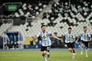 احتفال المنتخب الأرجنتيني بفوزه على بوليفيا