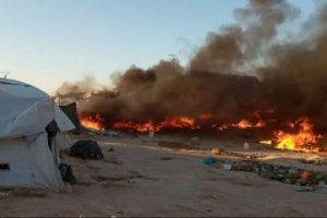 فوق الموتة عصة قبر ..حريق يشرد 1400 نازح ايزيدي
