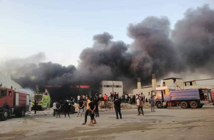 حريق في معمل دهانات في حلب