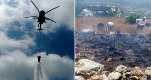 طيارة روسية تخمد الحرائق في مدينة جبلة السورية